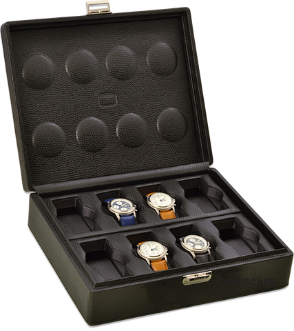 Scatola del Tempo 8BOSXXL Compact 8-Unit Watch Case in Black Leather Grain