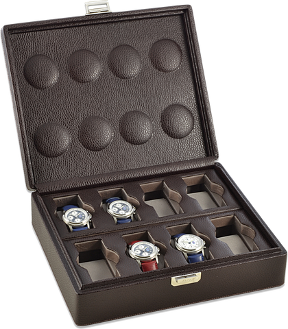 Scatola del Tempo 8BOSXXL Compact 8-Unit Watch Case in Brown Leather Grain