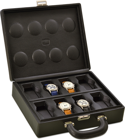 Scatola del Tempo 8BOSXXL Compact w Handle 8-Unit Watch Case in Black Leather Grain