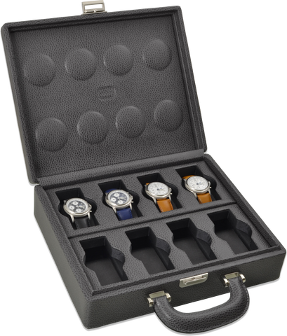 Scatola del Tempo 8BOSXXL Compact w Handle 8-Unit Watch Case in Grey Leather Grain