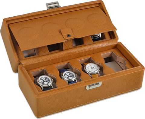 Scatola del Tempo 8BOSXXL 8-Unit Watch Case in Tan Leather Grain