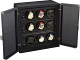 Scatola del Tempo 9RTOS 9-Unit Watch Winder in Black Leather Grain