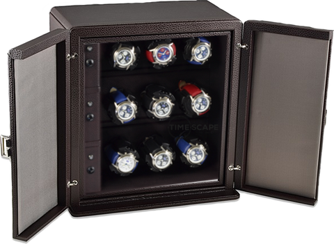 Scatola del Tempo 9RTXXL Compact 9-Unit Watch Winder in Brown Leather Grain