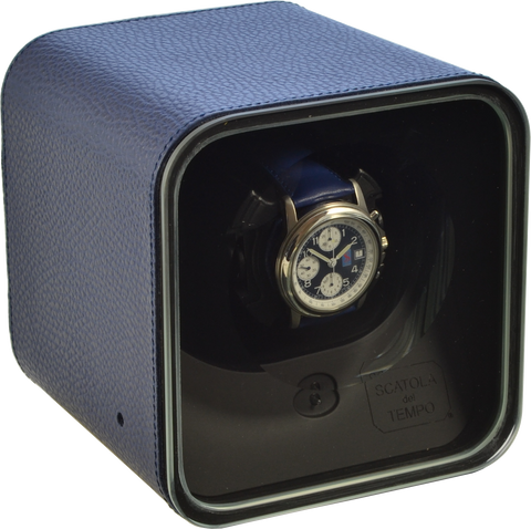 Scatola del Tempo BE1 Single-Unit Watch Winder In Blue Leather Nabuk