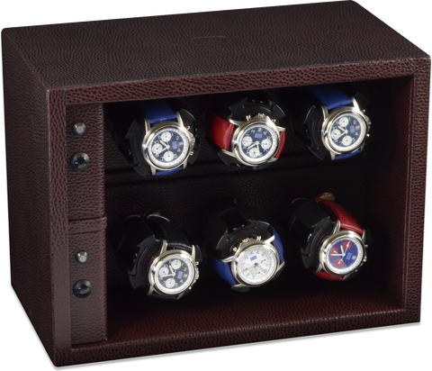 Scatola del Tempo Cornice 6RTXXL Compact 6-Unit Watch Winder in Brown Leather Grain