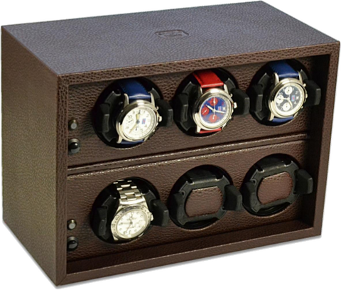 Scatola del Tempo Cornice 6RTOS 6-Unit Watch Winder in Brown Leather Grain