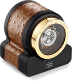 Scatola del Tempo RT1 HDG Single-Unit Watch Winder in Brandy Ostrich