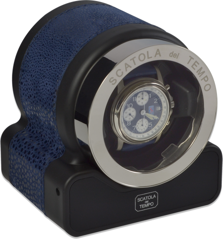 Scatola del Tempo RT1 HDG Single-Unit Watch Winder In Blue Leather Nabuk