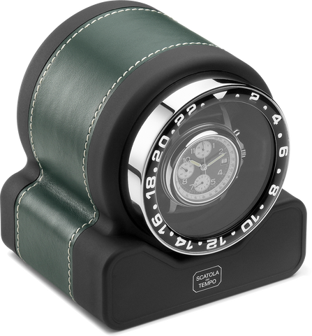 Scatola del Tempo RT1 SPORT Single-Unit Watch Winder In Green Leather