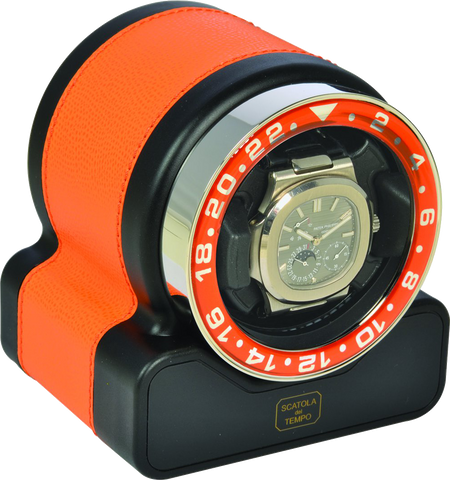 Scatola del Tempo RT1 SPORT Single-Unit Watch Winder In Orange Leather Grain