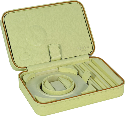 Scatola del Tempo TESORO D Jewel Case in Cream Leather Grain