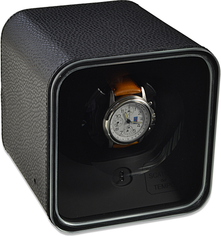 Scatola del Tempo BE1 Single-Unit Watch Winder In Black Leather