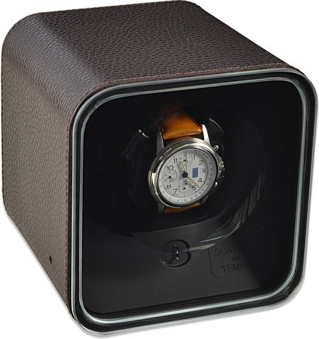 Scatola del Tempo BE1 Single-Unit Watch Winder In Brown Leather
