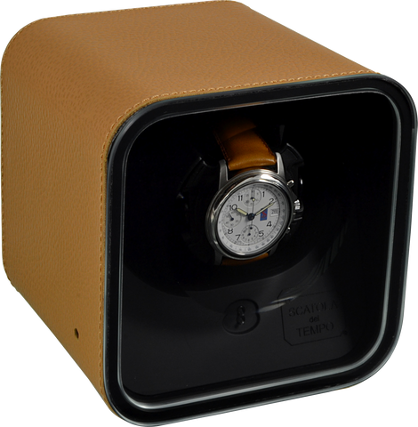 Scatola del Tempo BE1 Single-Unit Watch Winder In Tan Leather