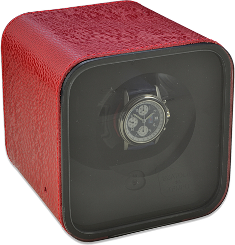 Scatola del Tempo BE1 Single-Unit Watch Winder In Smoke Red Leather