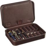 Scatola del Tempo Pen Box 8 in Brown Leather Grain