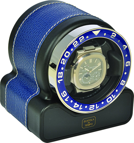 Scatola del Tempo RT1 SPORT Single-Unit Watch Winder In Navy Leather Grain