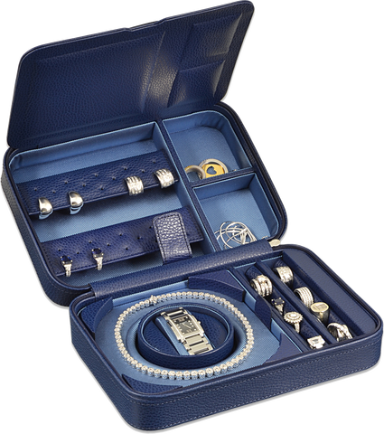 Scatola del Tempo TESORO D Jewel Case in Navy Blue Leather Grain
