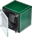 Swiss Kubik SK01.CV005 Single Watch Winder in Green Leather with White Stitch