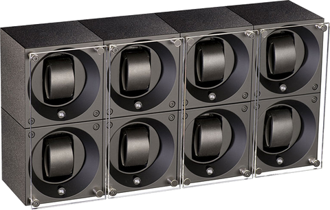 Swiss Kubik SK08.AE001 - WP 8-Unit Watch Winder in Black Anodized Aluminum