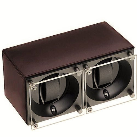 Swiss Kubik SK02.CV004 - WP 2-Unit Watch Winder In Brown Leather