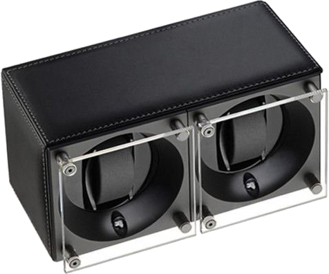 Swiss Kubik SK02.CV003 - WP 2-Unit Watch Winder In Black Leather
