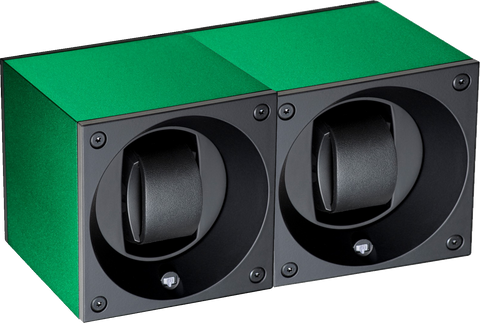 Swiss Kubik SK02.AE007 2-Unit Watch Winder in Green Anodized Aluminum