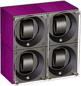 Swiss Kubik SK04.AE013 - WP 3-Unit Watch Winder in Purple Anodized Aluminum