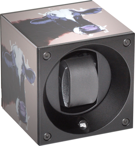 Swiss Kubik SK01.CVCOW Single Watch Winder In Leather with Cow Pop Art