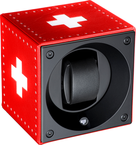 Swiss Kubik SK01.FA001 Single Watch Winder In Leather with White Cross Insignia (Swiss Flag)