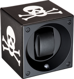 Swiss Kubik  SK01FA002 Single Watch Winder In Leather with Skull Crossbones Insignia