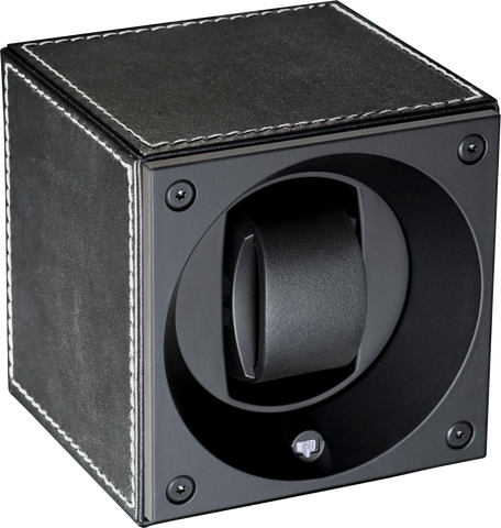 Swiss Kubik SK01.CV001 Single Watch Winder in Black Leather with White Stitch