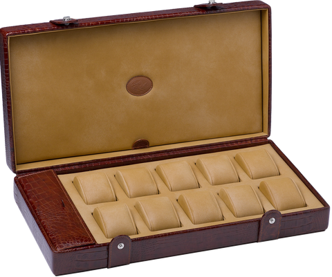 Underwood (London) - 10-Unit Watch Storage Case w Compartment in Brown Croco