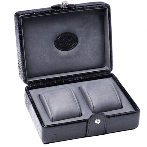 Underwood (London) - 2-Unit Watch Storage Case in Black Croco