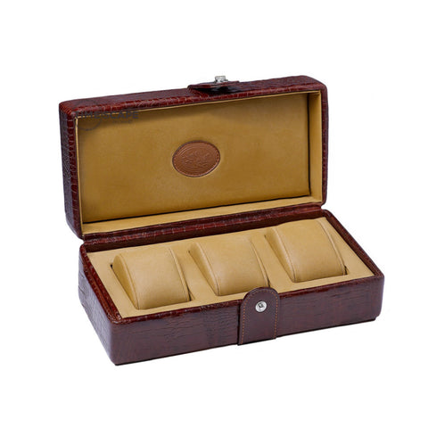 Underwood (London) - 3-Unit Watch Storage Case in Brown Croco