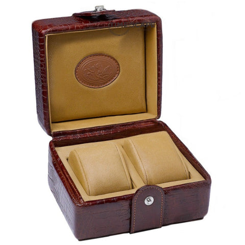 Underwood (London) - 2-Unit Watch Storage Case in Brown Croco