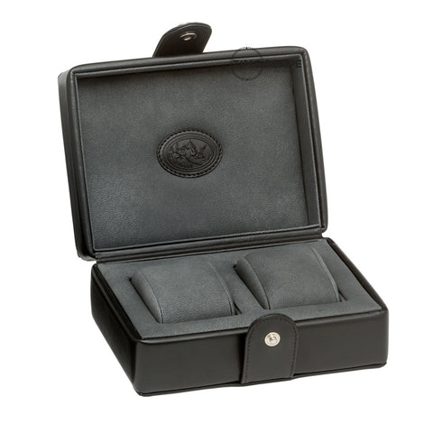 Underwood (London) - 2-Unit Watch Storage Case in Black Leather