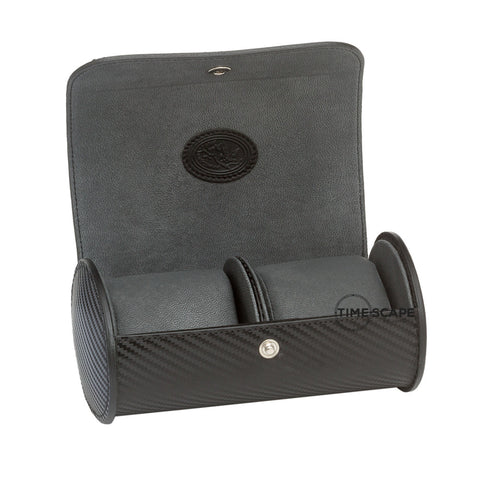 Underwood (London) - Double Round Watch Storage Case in Carbon Fiber