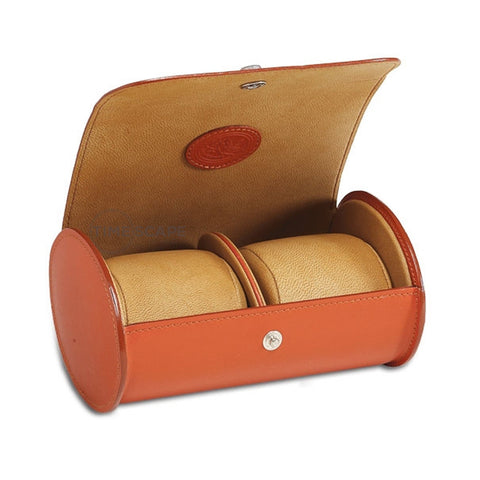 Underwood (London) - Double Round Watch Storage Case in Tan Leather