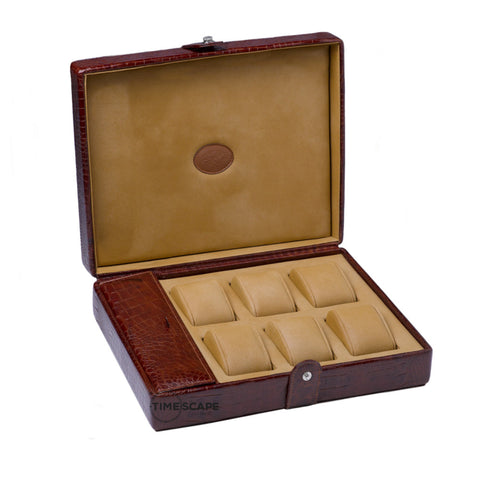 Underwood (London) - 6-Unit Watch Storage Case w Compartment in Brown Croco