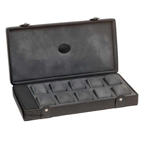 Underwood (London) - 10-Unit Watch Storage Case w Compartment in Black Leather