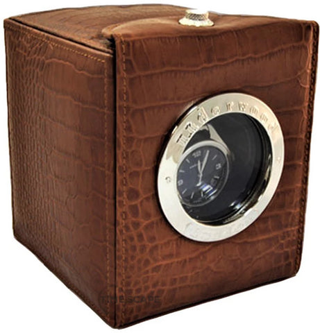 Underwood (London) - Single Classic Porthole Watch Winder in  Brown Croco