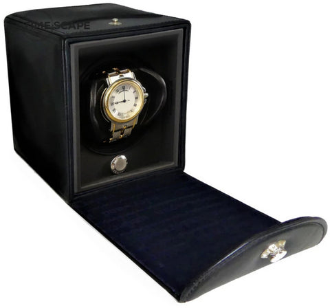 Underwood - Single Classic Watch Winder in Black Leather