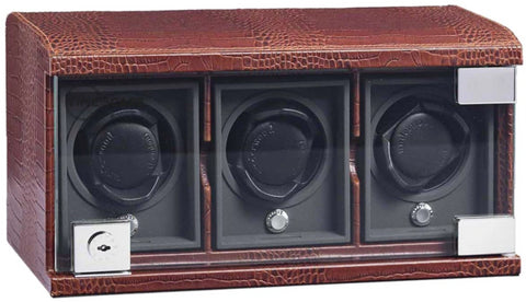 Underwood (London) - 3-Unit Classic Watch Winder in Brown Croco
