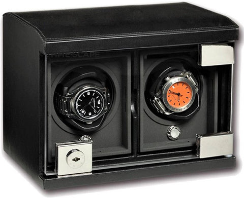 Underwood - 2-Unit Classic Watch Winder in Black Leather