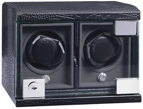 Underwood - 2-Unit Classic Watch Winder in Black Croco