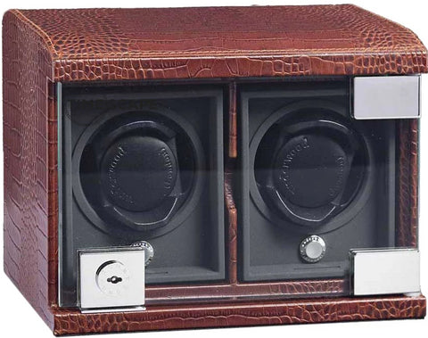 Underwood (London) - 2-Unit Classic Watch Winder in Brown Croco