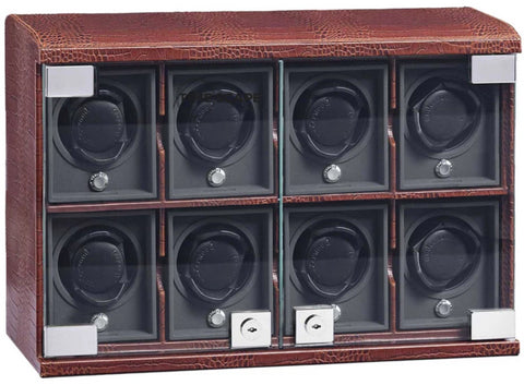 Underwood (London) - 8-Unit Classic Watch Winder in Brown Croco