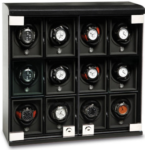 Underwood (London) - 12-Unit Classic Watch Winder in Black Leather