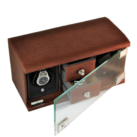 Underwood (London) - 2-Unit Classic Watch Winder w Drawers in Brown Croco